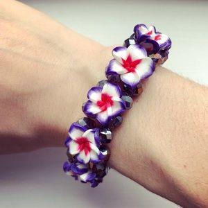 Pink & purple beaded Plumeria flower bracelet